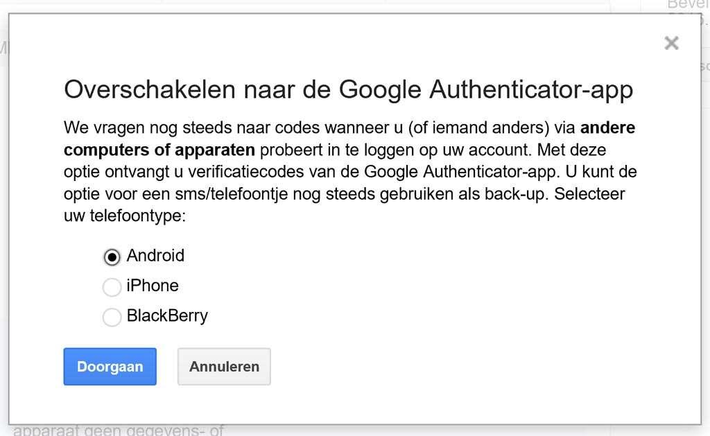 Overschakelen naar een authentificatie-app bij je Google-account.