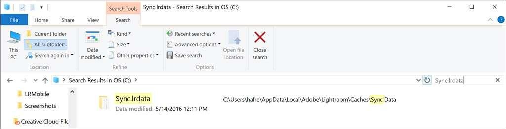 Via Search OS op zoek naar Sync.lrdata.