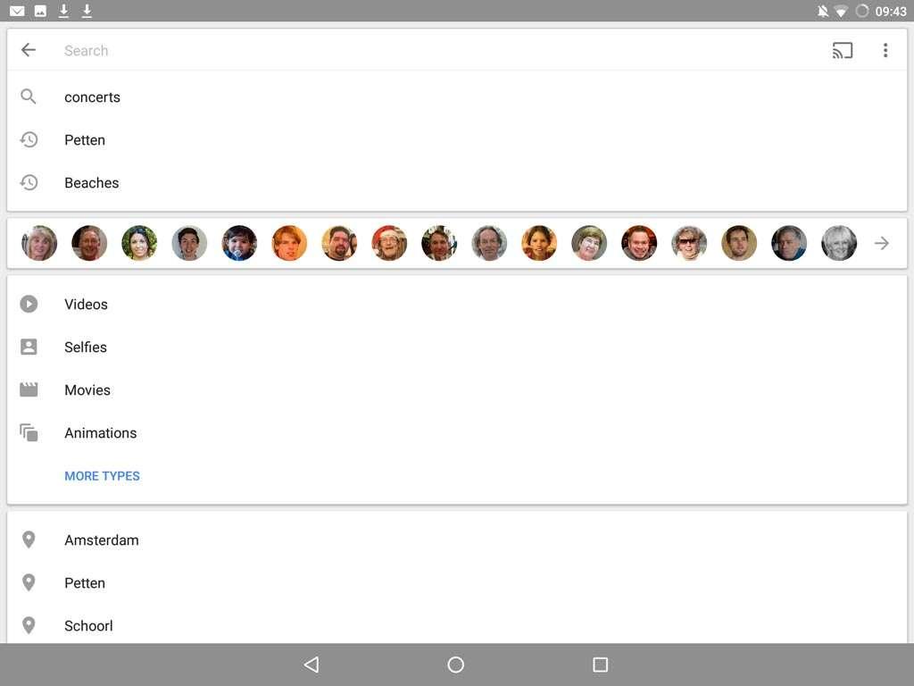De verschillende onderdelen in de zoek-interface.