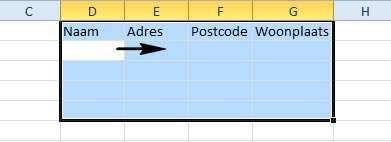 Selecteer een gebied en met de Tab-toets gaat u daarbinnen van links naar rechts.