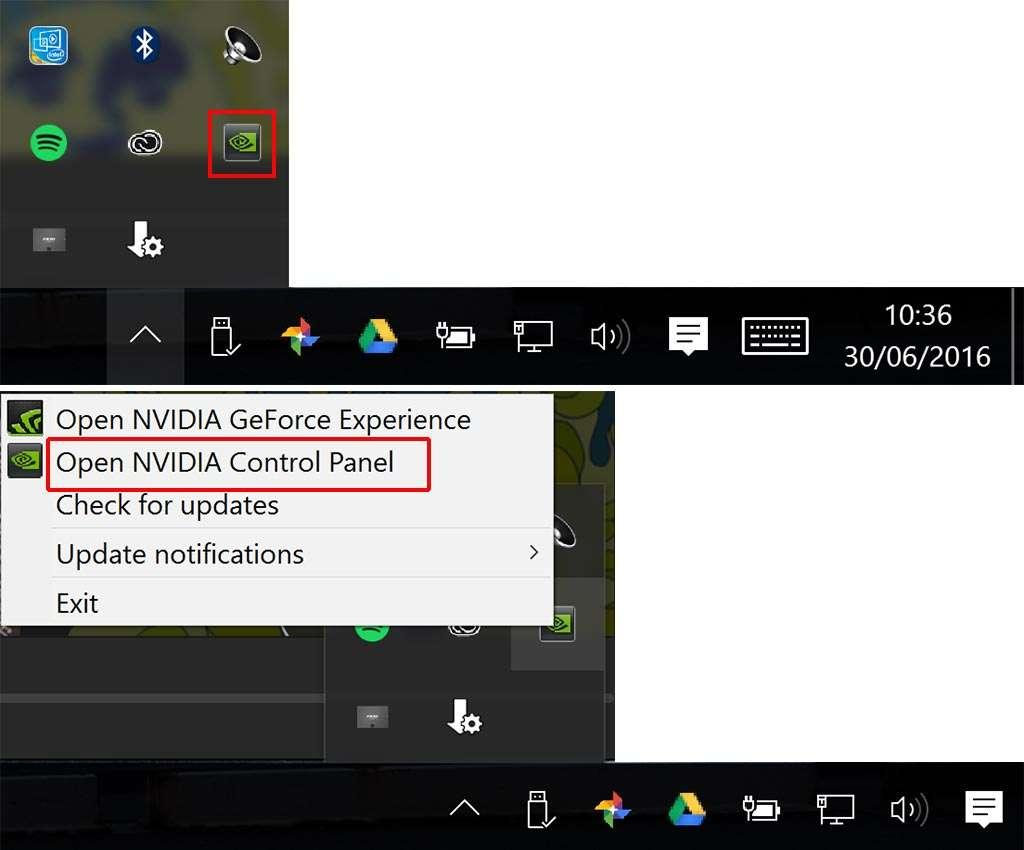 In de taakbalk rechtsonder kies je bij het NVIDIA-icon voor het Control Panel.