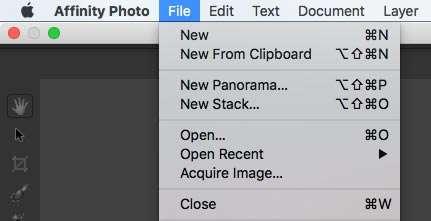 'New Panorama' in het menu File.