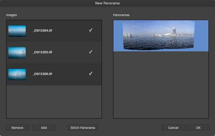 Het dialoogvenster New Panorama.