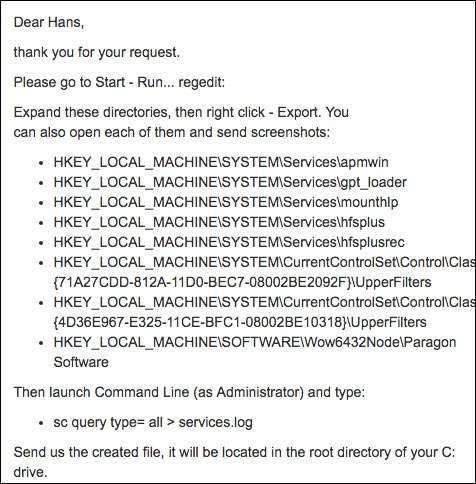 Kijk maar even in het register en maak een  services-logbestand, vroeg de support van Paragon.