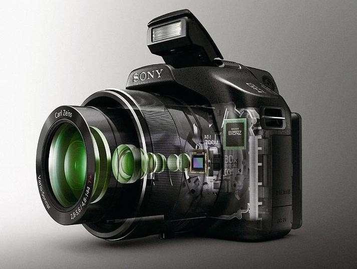 Kijkje in het binnenwerk van de digitale fotocamera met achterin de sensor (bron: Sony Corporation).