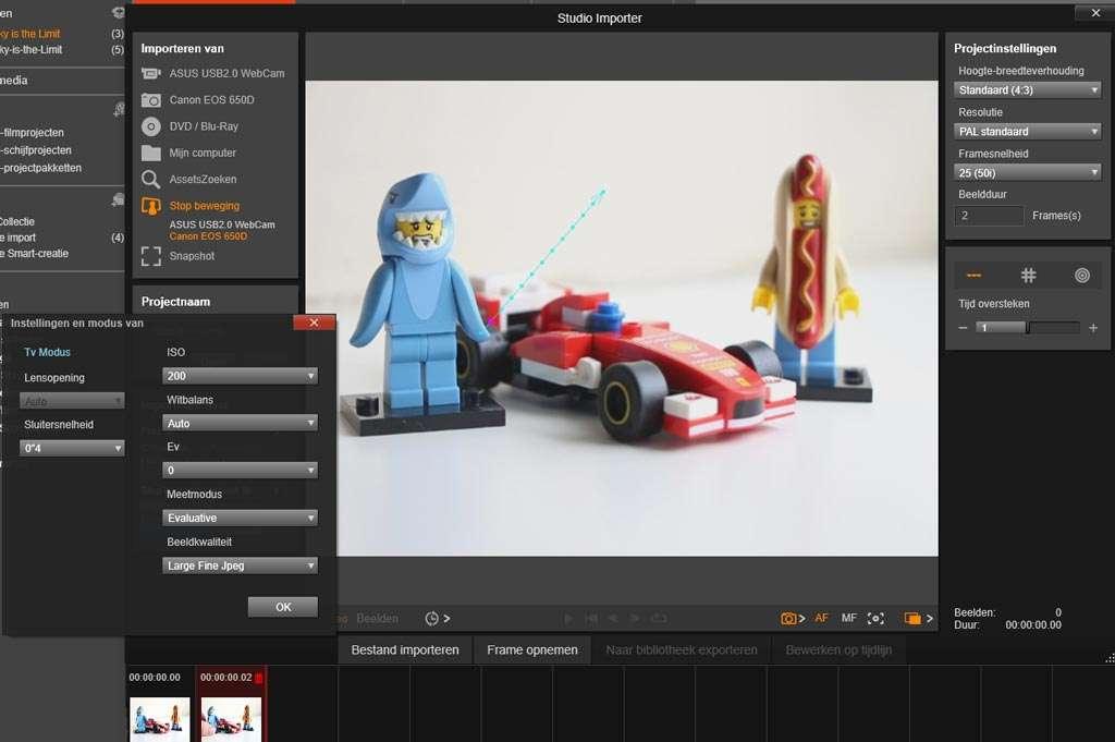Standaard is versie 19.5 van Pinnacle Studio uitgerust met een handige stop motion functie.