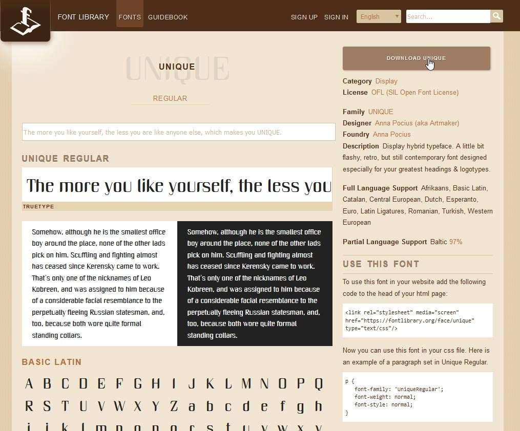 Klik op de downloadknop om een lettertype op te halen.