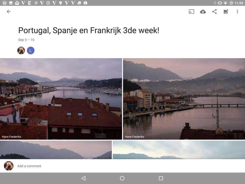 Een album in Google Foto's van de tweede week van de vakantie.