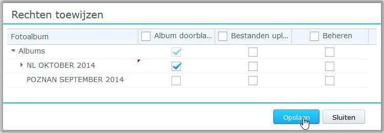 Geef aan welke albums een gebruiker mag zien.
