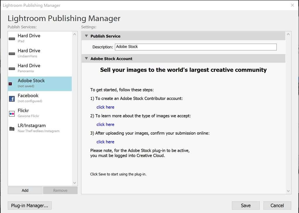 Je aanmelden bij Adobe Stock vanuit Publish Services.