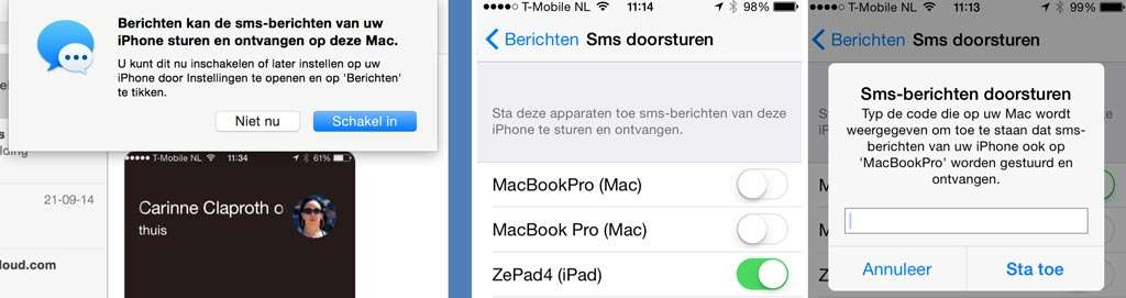 De functie om sms-berichten te ontvangen moet worden geactiveerd op de Mac en iOS-apparaten.