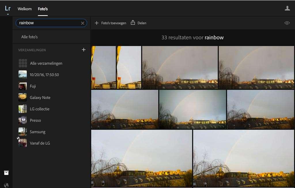 Je kunt de artificiele intelligintie je je beelden op inhoud herkent zelf al proberen. Ga naar Lightroom op het web - lightroom.adobe.com - en typ een zoekwoord in. In dit geval 'Rainbow' en zonder dat ik trefwoorden had ingevuld worden alle regenboogfoto's gevonden.