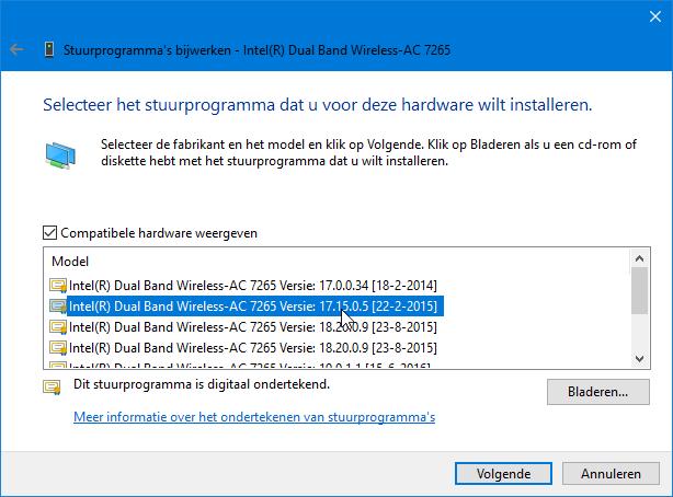 In geval van de Intel AC 7265 werkt driverversie 17.15.0.5