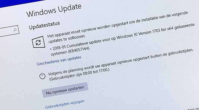 Spectre en Meltdown updates voor Windows 10