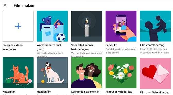 Thema-filmpjes in Google Foto's: Valentijnsdag, Moederdag enzovoort…