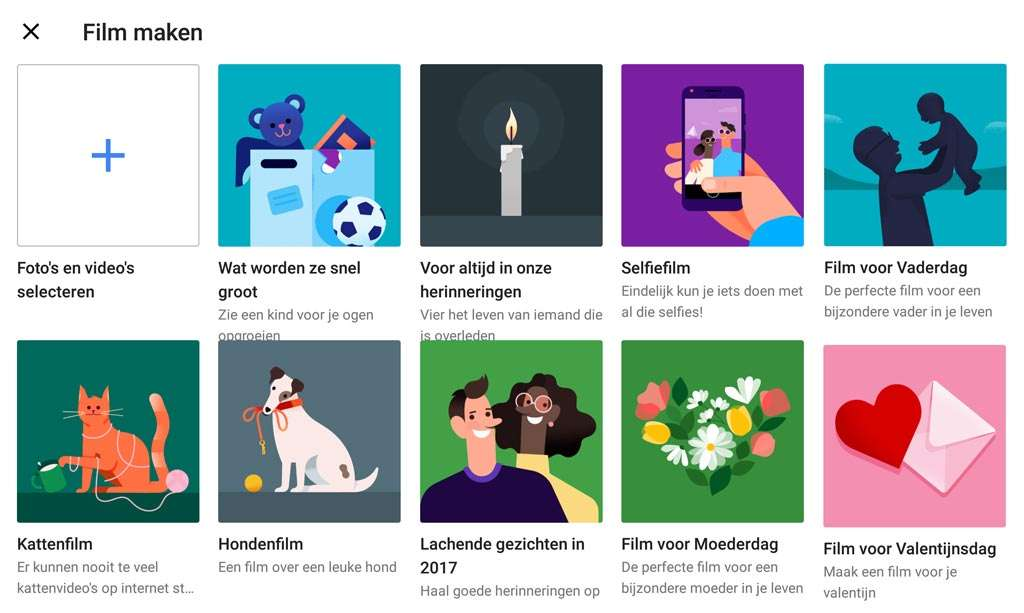 Thema-filmpjes in Google Foto's