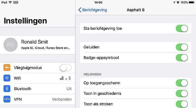 Tem de berichtgeving in iOS