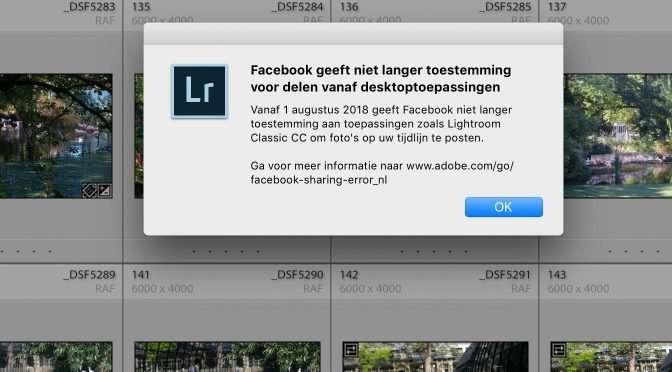 Lightroom kan niet meer rechtstreeks naar Facebook publiceren