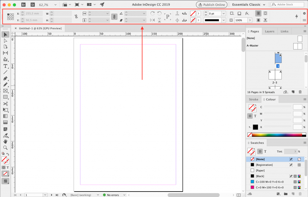 InDesign CC oude interface
