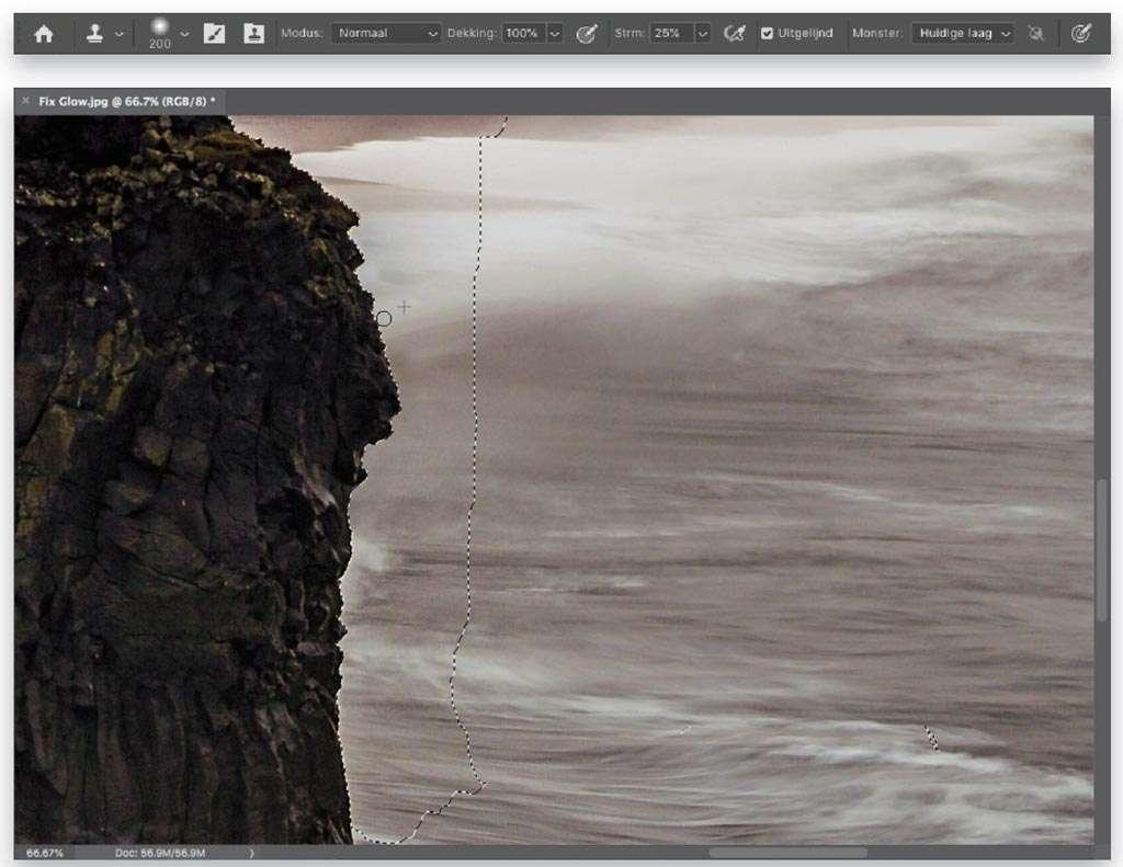 Halo's langs randen wegwerken in Photoshop