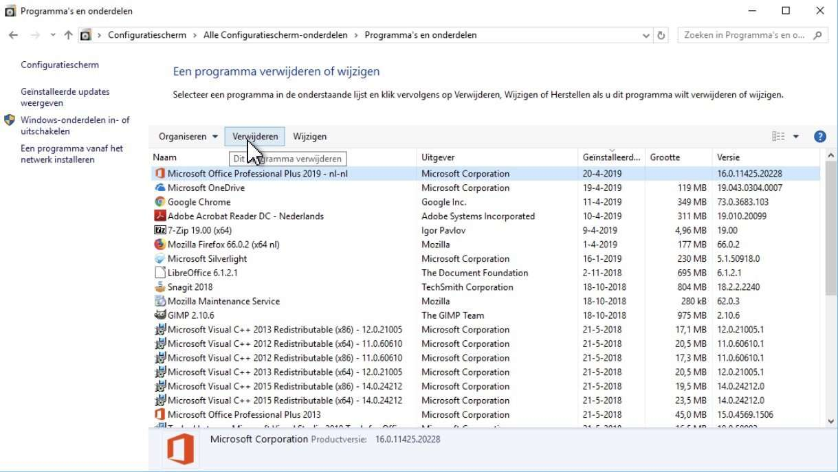 Configuratiescherm in Windows 10