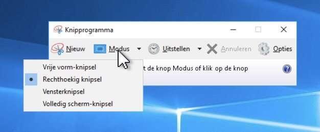 Het knipprogramma biedt diverse mogelijkheden om een schermafdruk in Windows mee te maken.