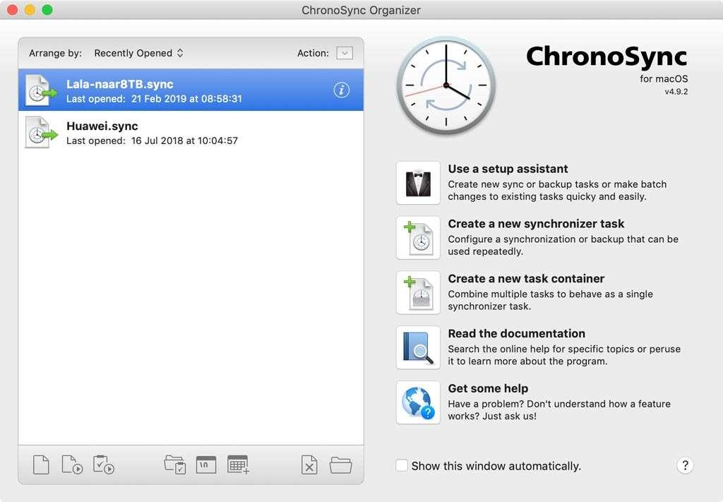 Backup met Chronosync