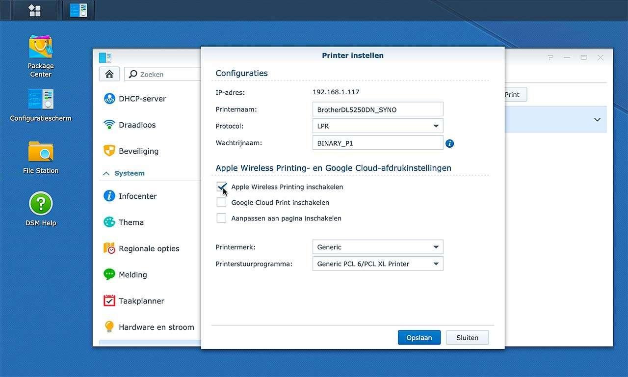 Je kunt je Synology NAS ook als AirPrint-server inzetten