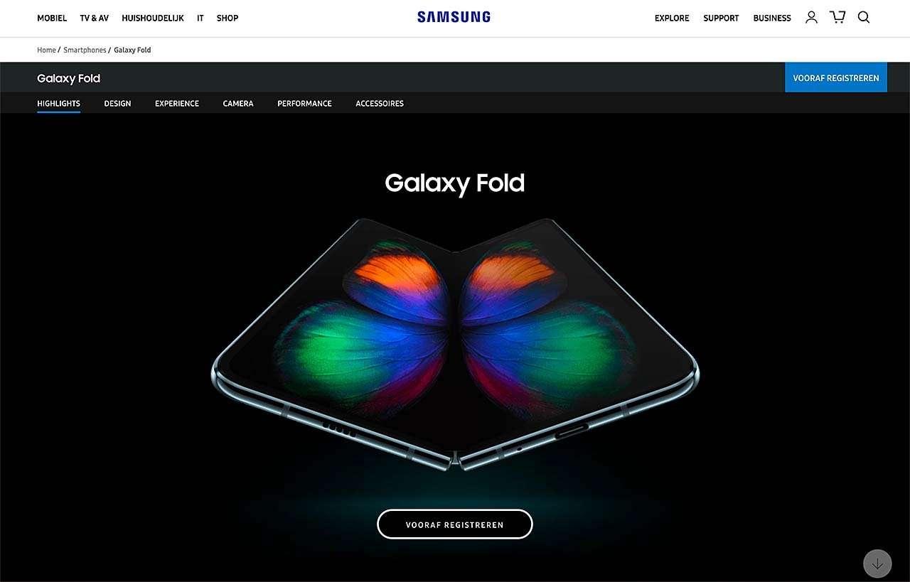 Samsung Fold, de vouwtelefoon van Samsung