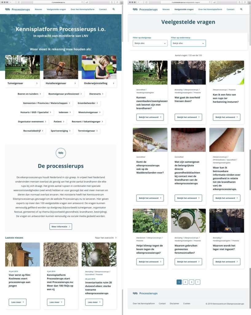 Afkortingen. Homepage en FAQ van website over de Eikenprocessierups.