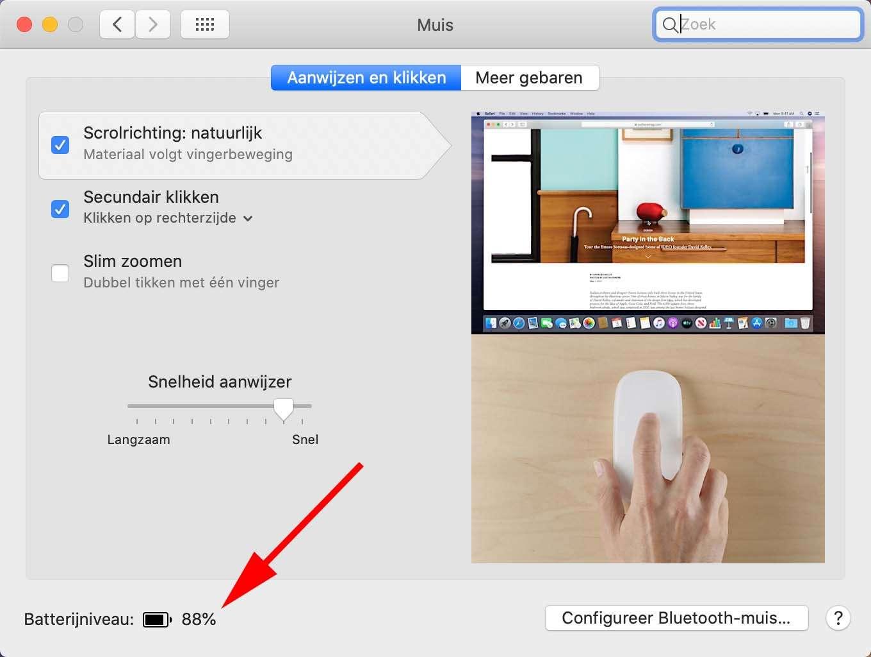 Check batterijlading van muis en toetsenbord in macOS