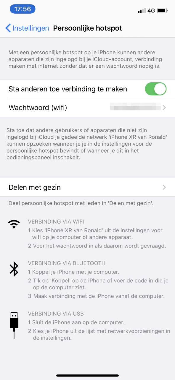 deel internet via je iPhone