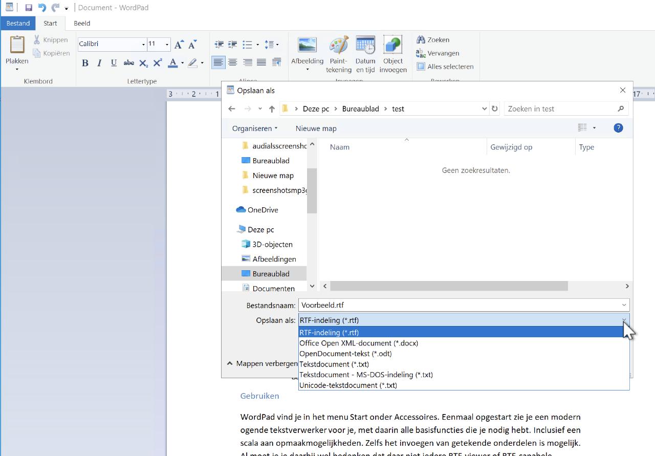 WordPad tekstverwerker