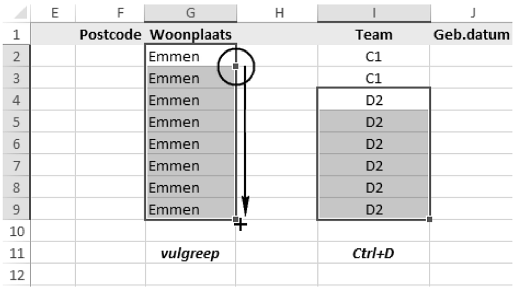 automatisch aanvullen in Excel