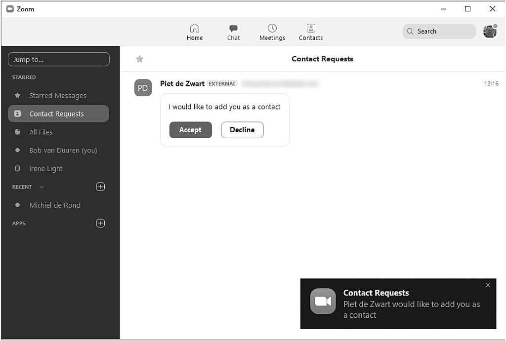 werken met contacten in Zoom