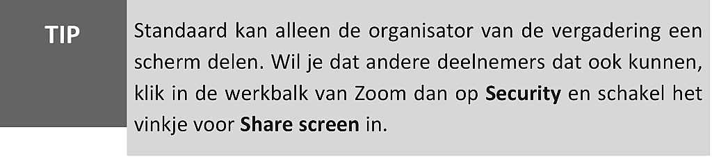 scherm delen in Zoom